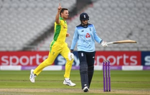 Josh Hazlewood celebrates the wicket of Joe Root.
