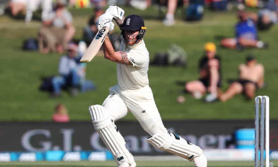 Ben Stokes plays a cover drive on day one of the first Test.