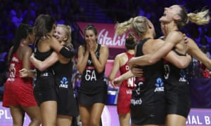 New Zealand players celebrate after beating England in the Netball World Cup semi-final.