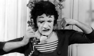 'Non!' ... mime artist Marcel Marceau had the only spoken word in Mel Brooks's Silent Movie.