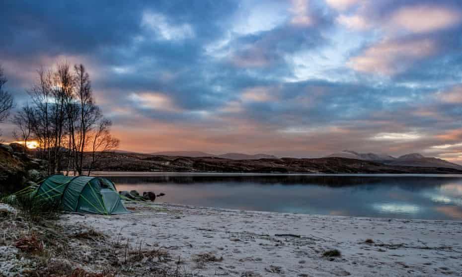 Wild camping on by Loch Laidon on Rannoch Moor, Scotland.