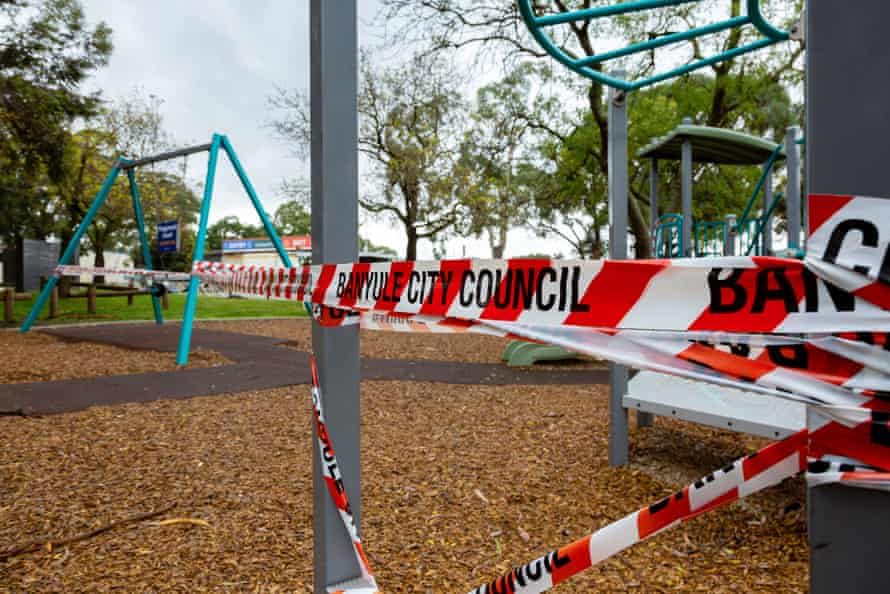 The use of playgrounds is banned during the Covid-19 outbreak, Melbourne, 29 April 2020.