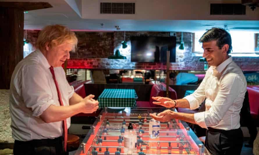 Boris Johnson and Rishi Sunak at a restaurant in London