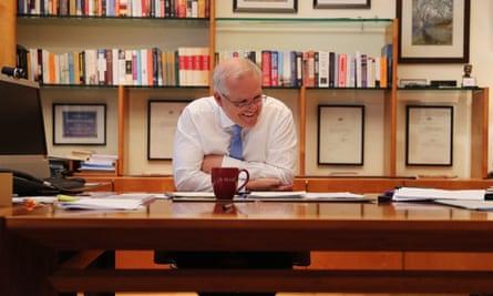 Prime minister of Australia Scott Morrison on the phone to president-elect Joe Biden