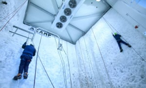 The ice climbing wall at the Ice Factor in Kinlochleven.