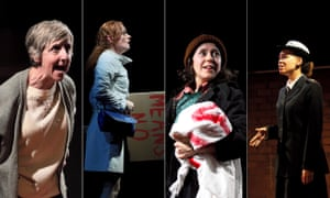 Julie Hesmondhalgh, Natalie Gavin, Tessa Parr and Jesse Jones in There Are No Beginnings, at Leeds Playhouse.