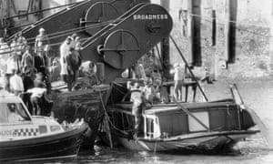 Police at the site of the Marchioness disaster.