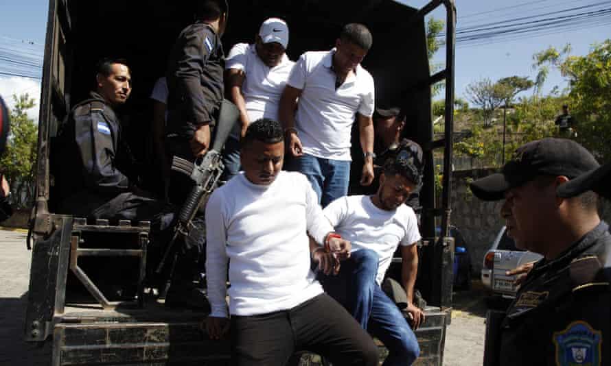 Douglas Bustillo, top left, and Mariano Diaz Chavez, top right, Oscar Aroldo Torres Velazquez, bottom left, and Henry Javier Hernandez Rodriguez, bottom right, were found guilty of murdering Berta Cáceres.