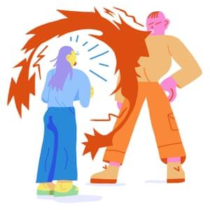 Illustration of person overwhelmed by louder speaker