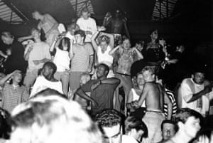 An acid house rave in Berkshire, UK in 1989.