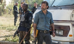 Morgan Jones and Andrew Lincoln in The Walking Dead.