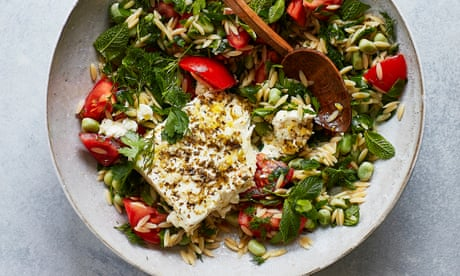 Thomasina Miers' recipe for kritharaki, broad beans and tomato with baked feta   The simple fix