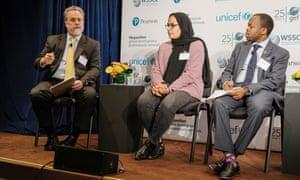 Oxfam's Ray Offenheiser,  youth activist Hiba Nabulsi and James Mwangi