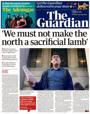Guardian front page, Friday 16 October 2020