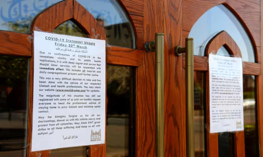 Notices informing worshippers of the closure of a mosque in Leicester in April