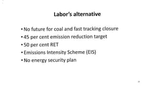 Page 29 of presentation by Josh Frydenberg to the Coalition party room on the Finkel review