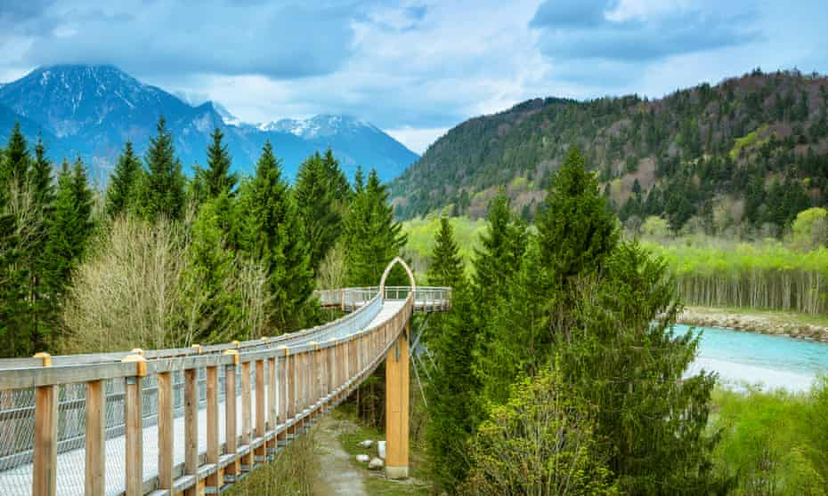 Canopy walkway alongside the river Lech, view from Canopy walkway
