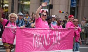 A contigent for 'Trans-Life' takes part in the 2015 San Francisco Pride Parade.