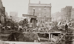One of a series of photographs by Henry Flather showing the construction, undertaken between 1866 and 1870, of the Metropolitan Railway's underground lines between Paddington and Blackfriars via Kensington