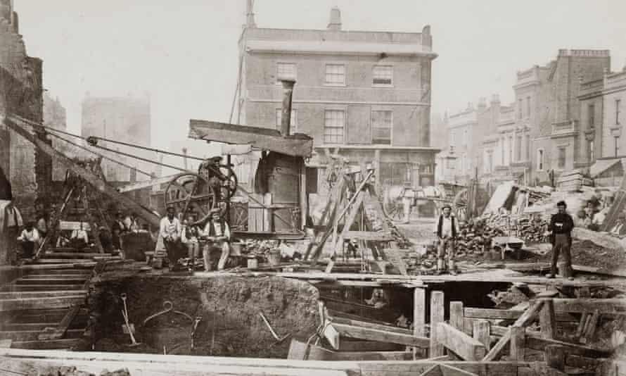 Construction of the Metropolitan Railway, Praed Street, London, 1866.