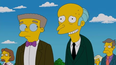 Smithers, Mr Burns and, right, Principal Skinner in The Simpsons.