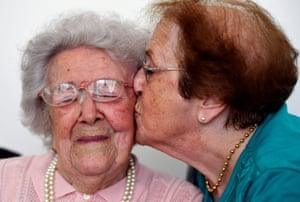 Saint-Maximin-La Sainte-Baume, FranceYvette Florens, aged 85, kisses her mother Honorine Rondello, who at 113 years old, is the oldest person in France