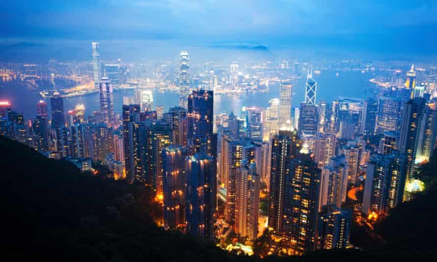 Hong Kong skyscrapers at night