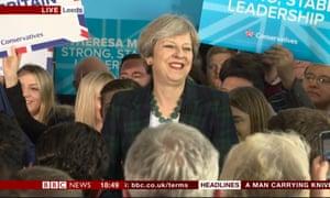 Theresa May in Leeds.
