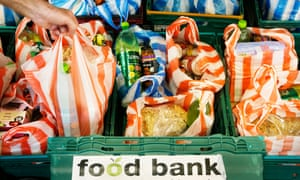Items in carrier bags at a food bank
