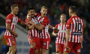 Melbourne City celebrate the opening goal.
