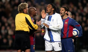 Ref Anders Frisk faces Chelsea and Barcelona in the UEFA Champions League First Knockout Round First Leg in 2005