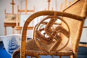 A wicker armchair bearing a swastika which is presumed to have belonged to Adolf Hitler will be auctioned on Saturday.