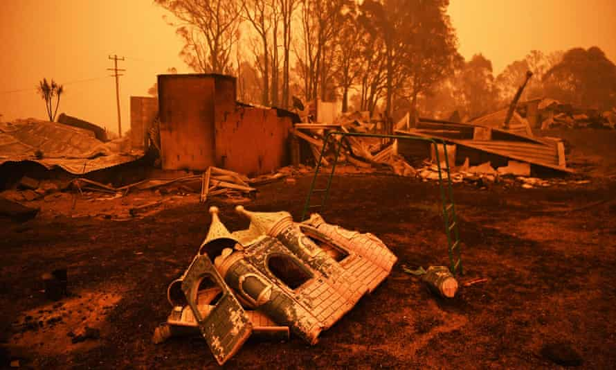 The remains of a destroyed house are pictured in Cobargo, as bushfires continue to ravage Australia.