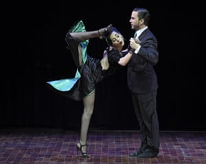 <strong>Buenos Aires, Argentina </strong>Ezequiel Lopez (R) and Camila Alegre of Argentina dance during the Tango Stage competition final at the 13th Tango Dance World Championship, they went on to win the contest.