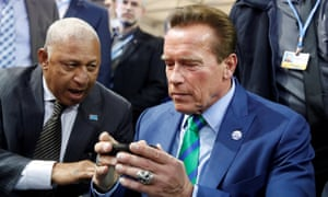Schwarzenegger with the Fijian PM Frank Bainimarama at the UN climate conference in Bonn in 2017. He said Trump was 'hellbent on reversing decades of history and progress'.