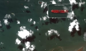 A satellite photo taken on 22 July of the oil tanker Stena Impero, anchored about three miles offshore from the Iranian port city of Bandar Abbas.