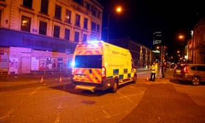 police van responding to An Incident At Manchester Arena