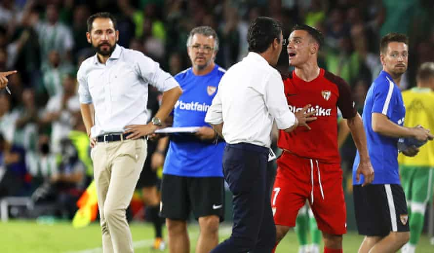 Roque Mesa reacts after being sent off.