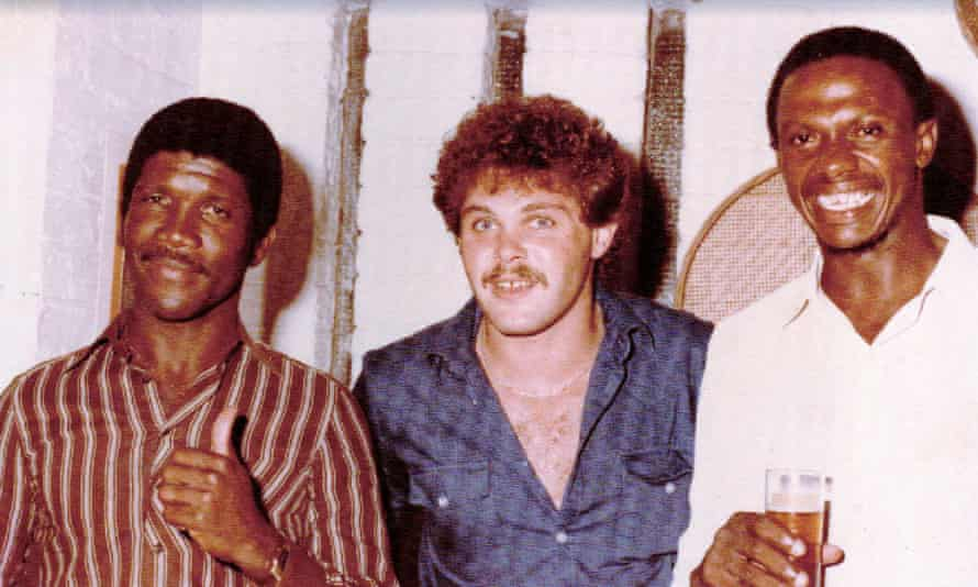 Richard Austin (right) with fellow rebel Lawrence Rowe (left) and a friend at a party during the first rebel tour of South Africa in 1983.