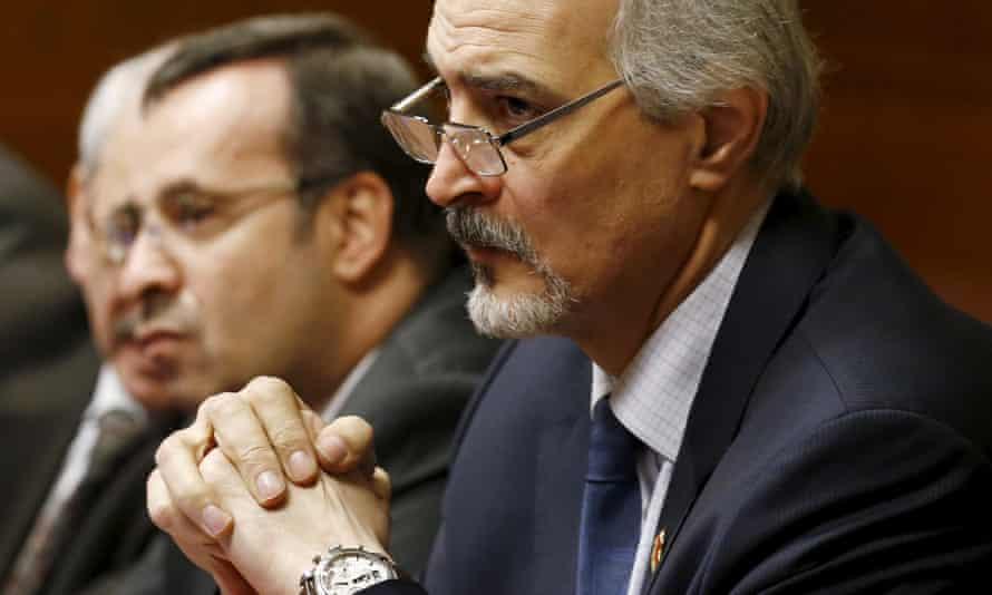 Bashar al-Jaafari, the Syrian ambassador to the UN, at the opening of renewed Syrian peace talks in Geneva.