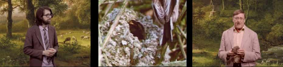 'Knowledge from the father, poetry from the son': Andy Holden, left, and Peter Holden, right, and the nest of a long-tailed tit.
