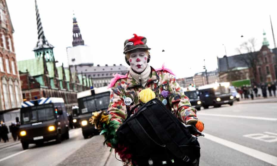 An environmental activist in Copenhagen during the UN climate change summit summit in 2009.