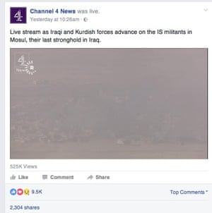 Channel 4 News' live stream on its Facebook page.