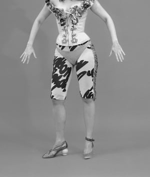 Nassia wears corset, price on request, and bikini bottoms, £230, by Andreas Kronthaler for Vivienne Westwood. Cycling shorts, £357, by Véronique Leroy. Shoes, from a selection, by Mulberry.