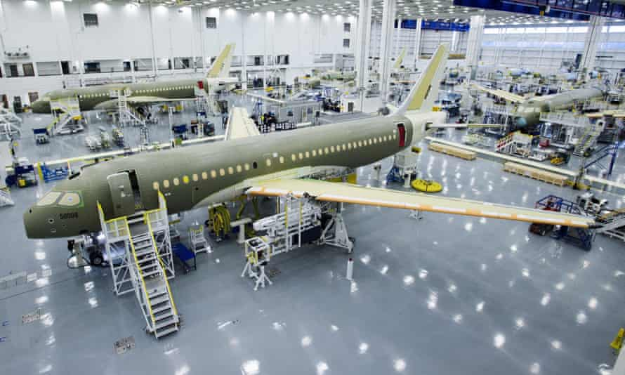 Bombardier's CS100 assembly line
