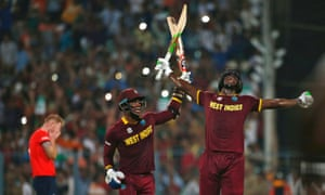 West Indies' Carlos Brathwaite, right, and Marlon Samuels celebrate after winning the World T20