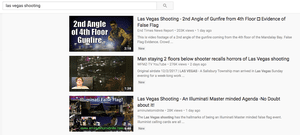 A scroll through YouTube results brought up a number of clips featuring conspiracy theories.