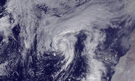 Hurricane Alex is seen in the Atlantic after being upgraded from a storm on Thursday.