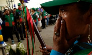 The funeral of Efigenia Vasquez in Colombia last year. Almost four defenders were murdered every week in 2017.
