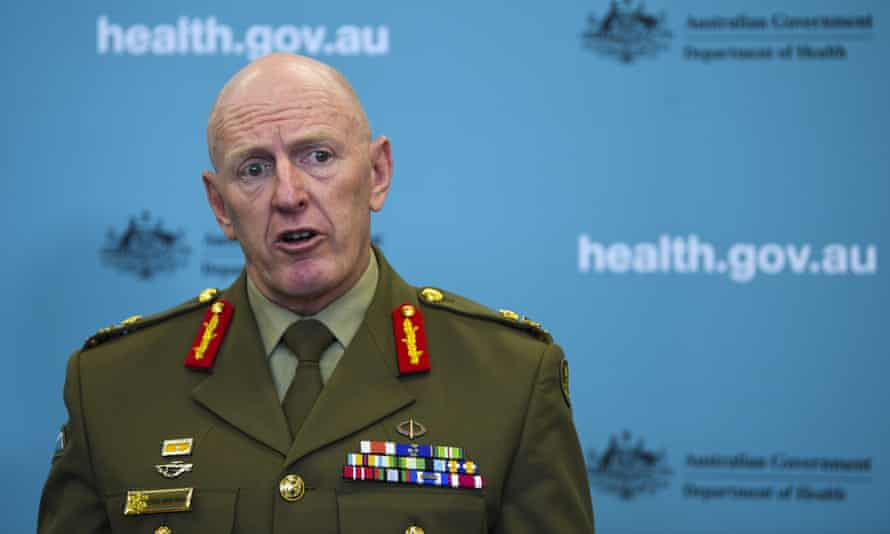 The commander of the Covid-19 task force, Lt. Gen. John Frewen, addresses the media in Canberra earlier this month.